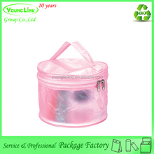Portable small round cosmetic bag/plastic bag for makeup tools/zipper toiletry storage bag