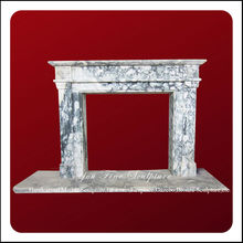 Simple White Marble Continental Fireplace