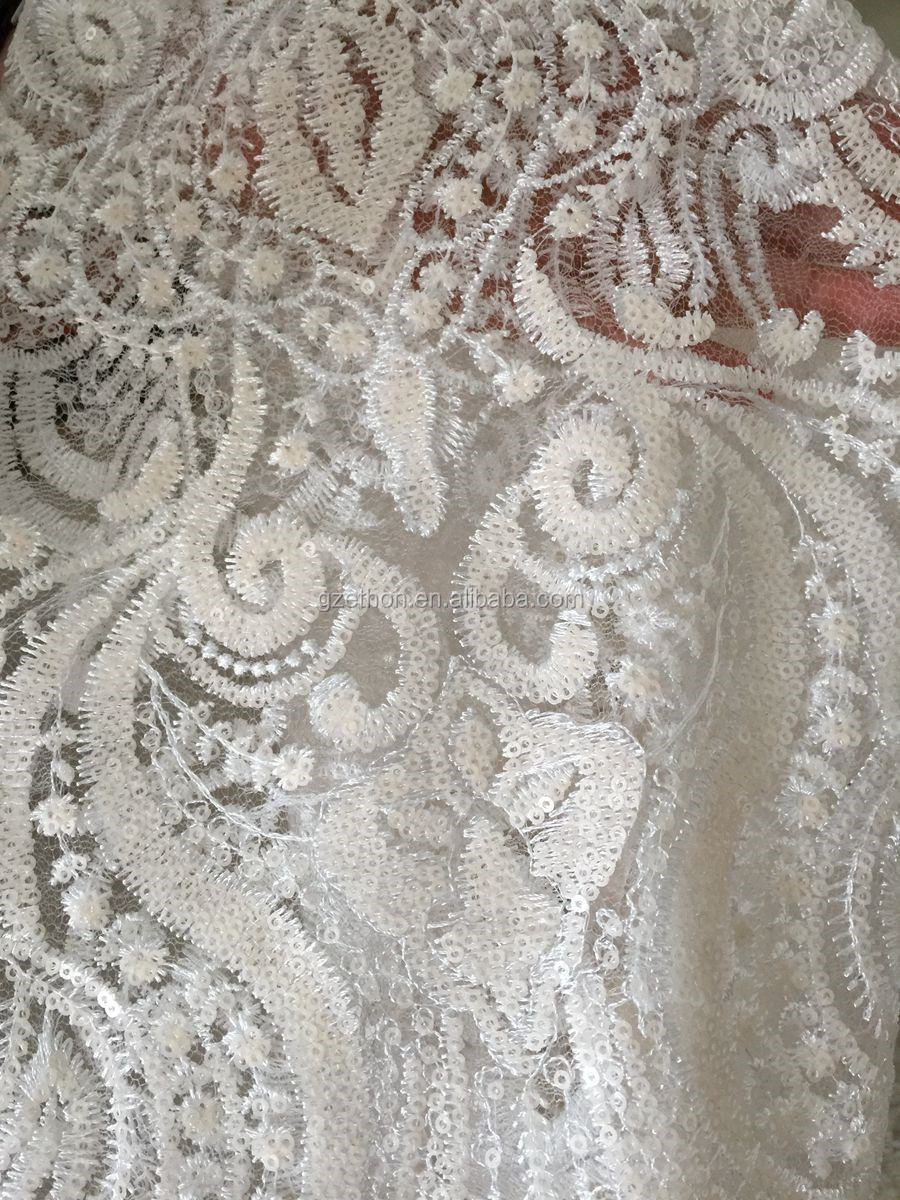 Hot sale pink sequin net mesh embroidery fabric for wedding dress