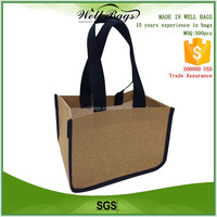 kraft paper non woven fabric round corner reusable shopping tote bag