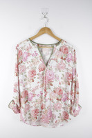 Women's Leisure Fashionable Blossoms Printed Blouse