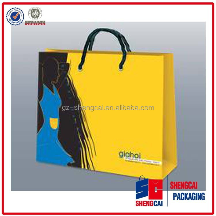 guangzhou paper packaging supplier make paer bag with coated art paper 300 gsm