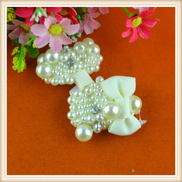 New fashion decorative beaded appliques ivory bows for girls/ladies /bobby pins