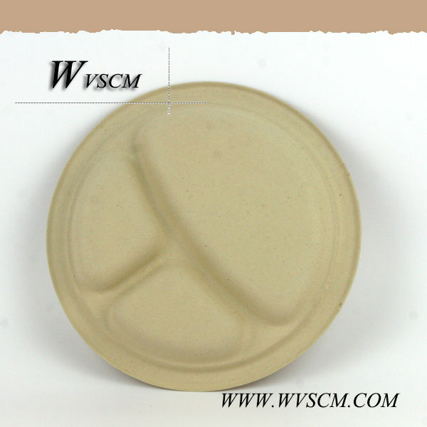 Disposable round divided food paper trays