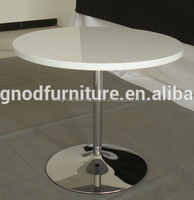 Round MDF wooden dining table furniture tulip dining table coffee table with chromed metal legs