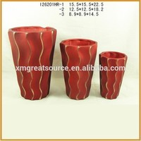 Handmade modern ceramic custom striped flower pot