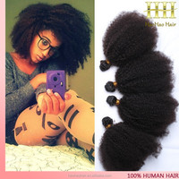 Afro curl virgin indian natural hair extensions weaves for black women