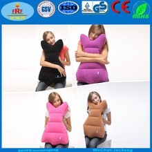 Hot Selling Fashion Flocked Inflatable Travel Pillow