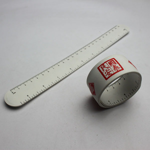 Custom Cheap Snap Silicone Slap Bracelet with Ruler