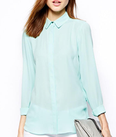 EY1621B A Deep V Back Swing Get Backless Long-Sleeved Shirt Lapel Mint Green Blouse Chiffon Unlined Upper Garment Blouses