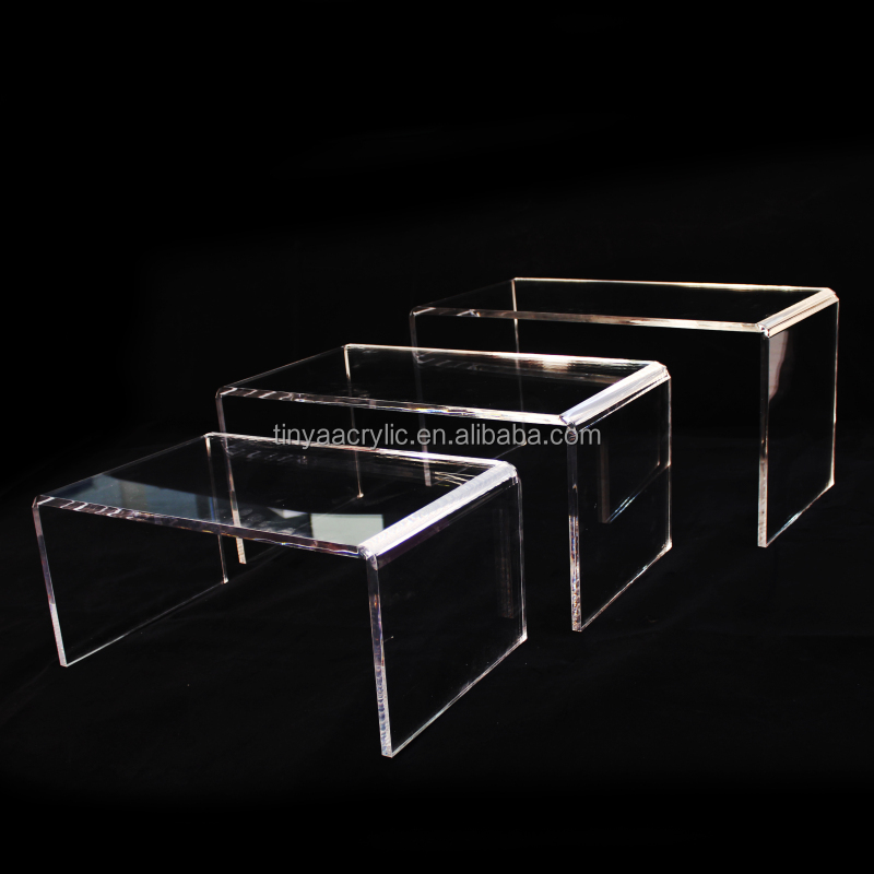 3 pcs set small square acrylic display stand table toppers Clear acrylic Risers set for jewelry boxes & organizers