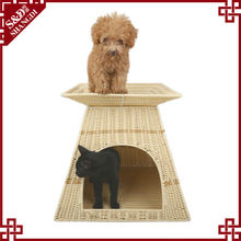 S&D handmade rattan double layers lovely bed for pet
