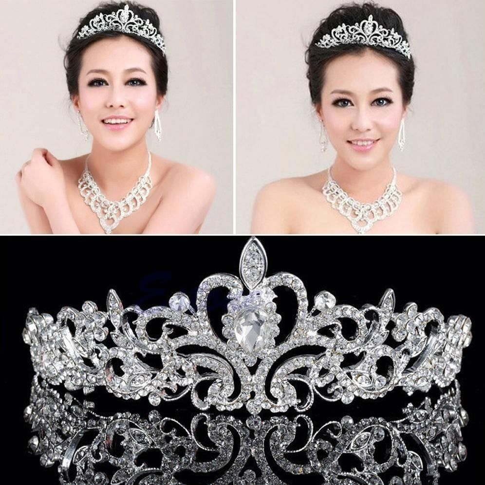 Silver Bridal Veil Tiara Diamante Rhinestone <strong>Crown</strong> Wedding Party Prom Headband