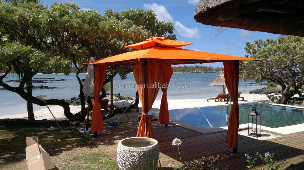 Fiberglass Teak wood finished tent gazebo