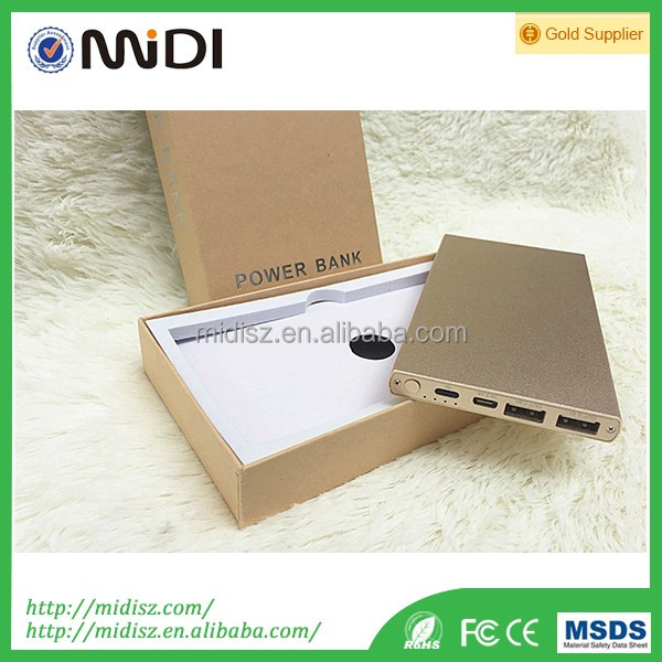 2A dual input 2.4A dual output high quality metal slim portable power bank 4000mah 8000mah 12000mah