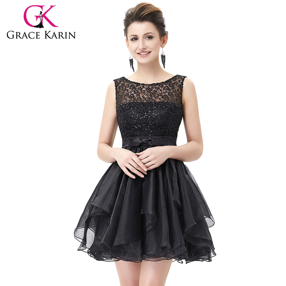 Grace Karin 2016 Sleeveless V-Back Black Lace Organza Cocktail Evening Prom Party Dress 8 Size US 2~16 GK001012-1