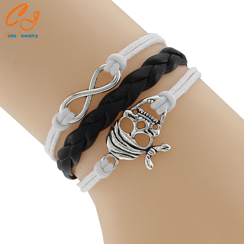 Factory Price Weird Fashion Jewelry Women Skull And Crossbones Leather Weaving Bracelets Bangles