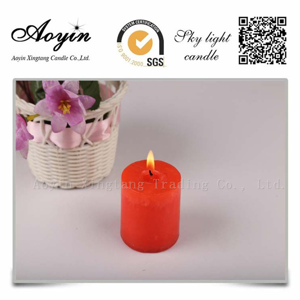 10*10 red unscented tearless pillar candle for Chile