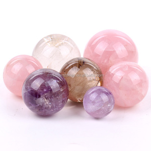 Pink rose quartz/Pink Amethyst/Clear crystal Customized Sphere Crystal gifts ballset