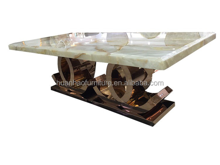 DH-1441 Master design dining room furniture foshan china 8 seater marble rose gold steel dining table set