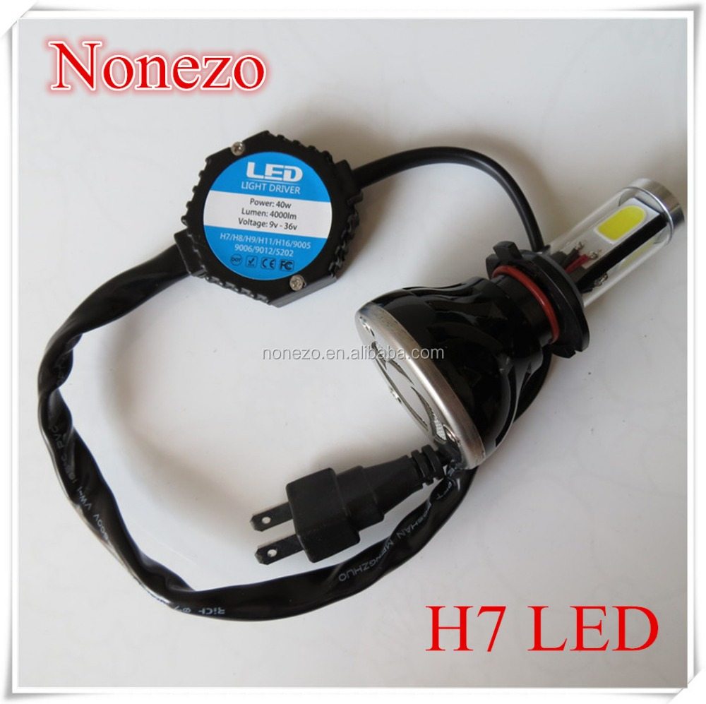 H7 40W 4000Lm 6000K C-REE COB LED Single Beam Super White LED Headlight Bulb Auto car Headlamp No Need Ballast