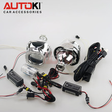 Hot Selling Autoki CCFL angel Eye bi-xenon projector lens hid xenon lens kit H7 H4 HID bulb