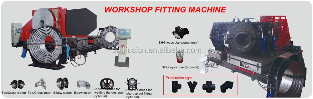SHG1000 PE pipe workshop fitting welding machine to weld Elbow Tee and Cross fitting