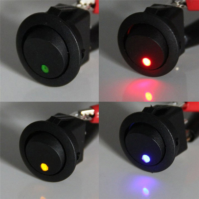 12V ON/OFF Round Rocker Switch with led light