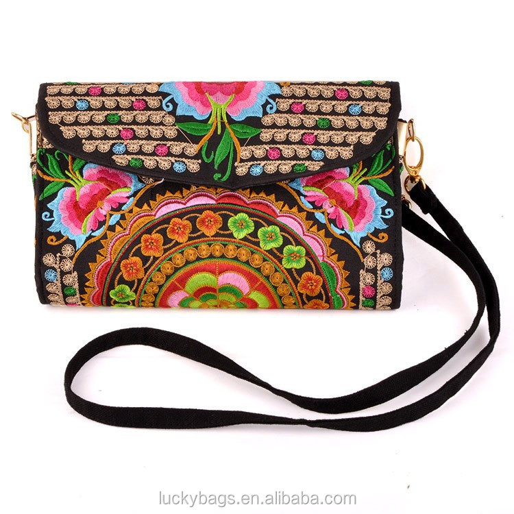 2016 new arrival indian style embroidery bag canvas messenger bag for women