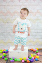 new style rabbit chevron boys girls clothes set for Easter Holiday