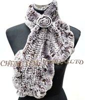 CX-S-48A Newest Fashion Ladies Scarf Hand Knitted Rex Rabbit Fur Women Neckwear