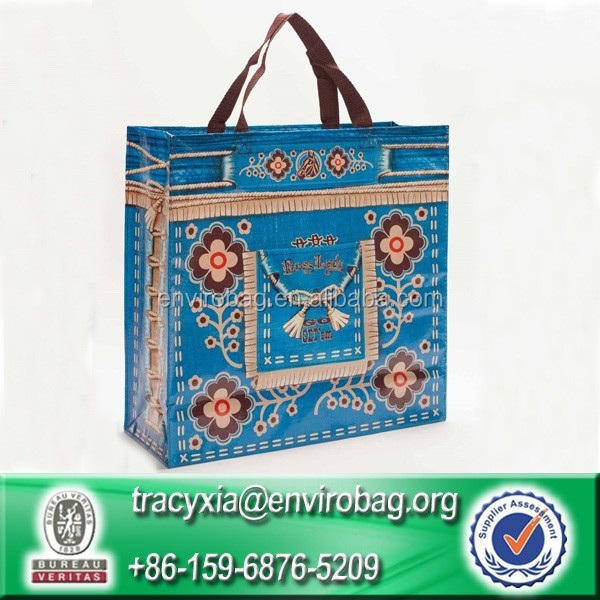 Eco-friendly laminated polypropylene woven Reusable shopping tote bag