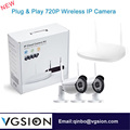 2CH HD 720P WIFI Surveillance System Plug And Play 4mm Lens IP Security Camera