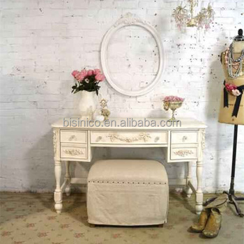 French Vintage Provicial White Painted Makeup Dresser Table With Mirror/ Antique Traditional Hand Carved Vanity Table