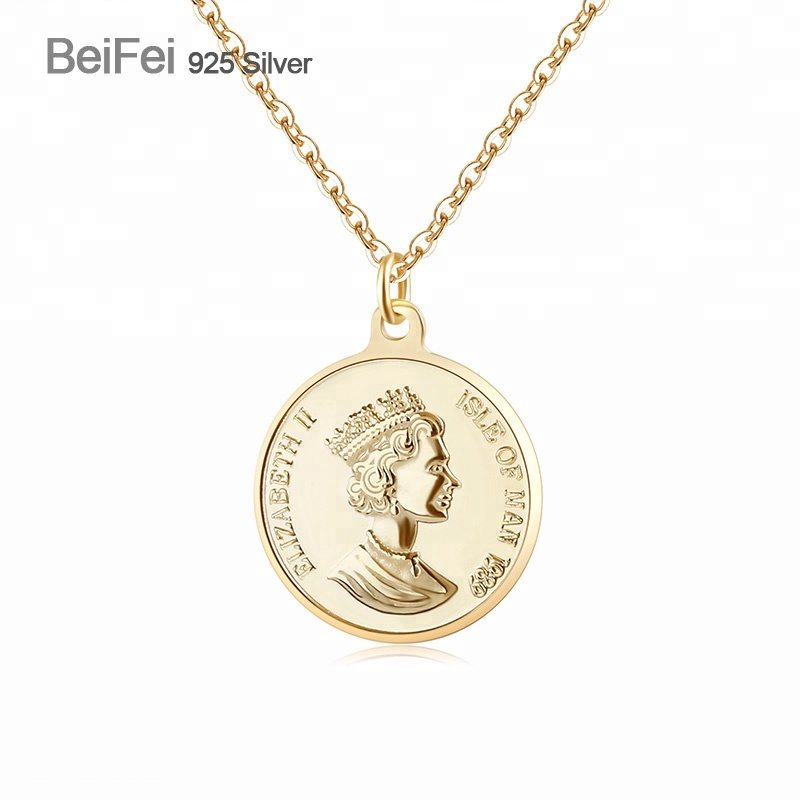 925 sterling <strong>silver</strong> 18K gold plated queen of the United Kingdom round coin pendant necklace