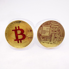 Custom red green painted souvenir bitcoin coin