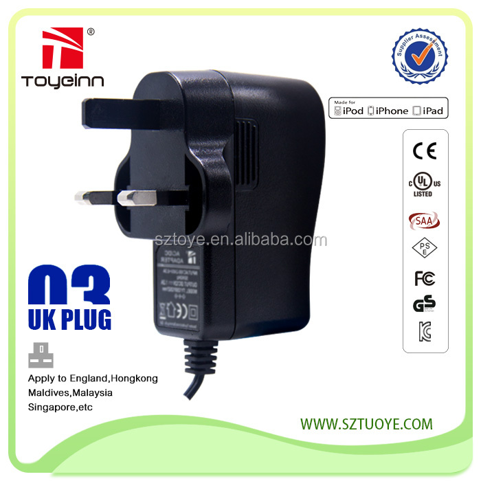 Toye 12v 1a wall mount adapter uk plug adapter,power supply adapter