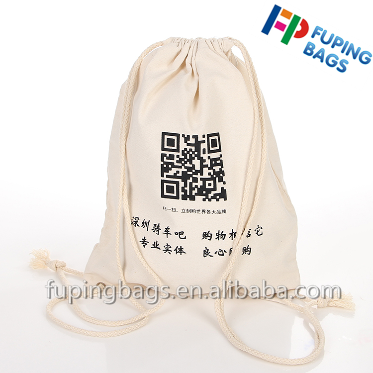 China factory promotional canvas 100% cotton shoulder drawstring bag backpack