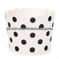 Paper Baking Cups-White/Balck , Black Dots spots Paper Baking Cups 45mm tall x 48mm base