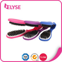 Colorful factory professional hair straightening brush, hair brush straightener
