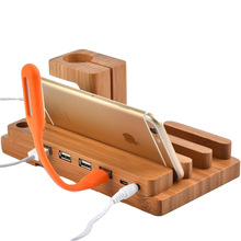 Bamboo wooden 4 in 1 for iPhone iPad iPod apple watch USB 4 ports charging stand station dock platform cradle holder