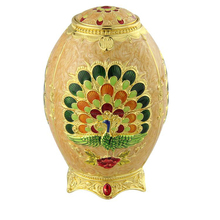 West Style Luxury engraved Peacock toothpick Container for home decoration