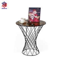CIFF low price black tea color drum round glass top iron side coffee table