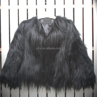 YR499 European Style Real Kadissia Goat Fur Jacket/ Black Fur Coat