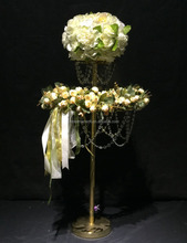 2 layers Wedding crystal table Chandelier centerpiece Flower Stand