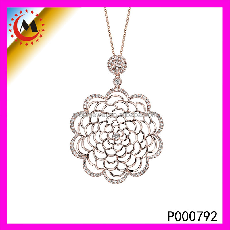 Italina Rigant Christmas Gift Elegant Ferris Rose Flower Pendant Necklace With Top Quality Austrian Zirconia