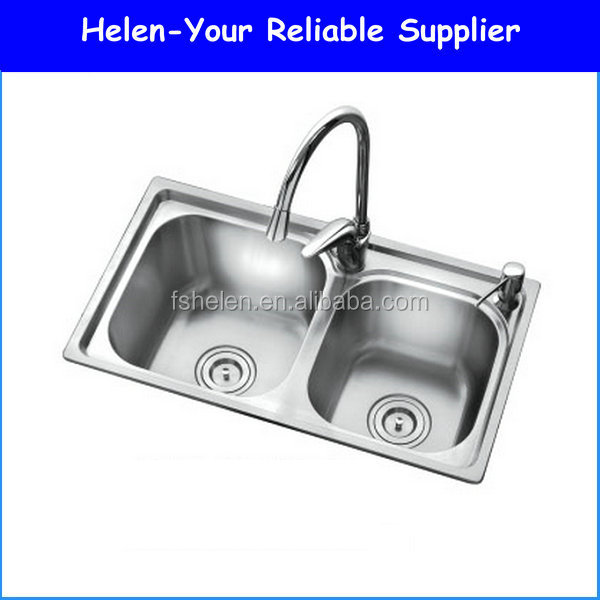 Topmounted 304# Double Bowls Stainless Steel One Piece Kitchen Sink Wash Sink With Tap Holes No.AOM7239