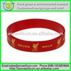 Red silicone bracelet with yellow logo printed, football soccer team wristband