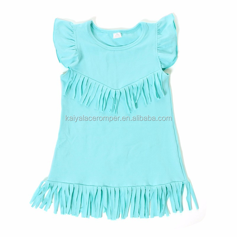 Summer Fly Sleeve Tassel Dress Aqua Icing Cotton Dress Baby Girl Party Dress