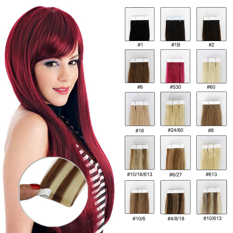 2016 Best Selling Factory Price Soft Smooth 2g 18in tape hair 100 brazilian virgin hair